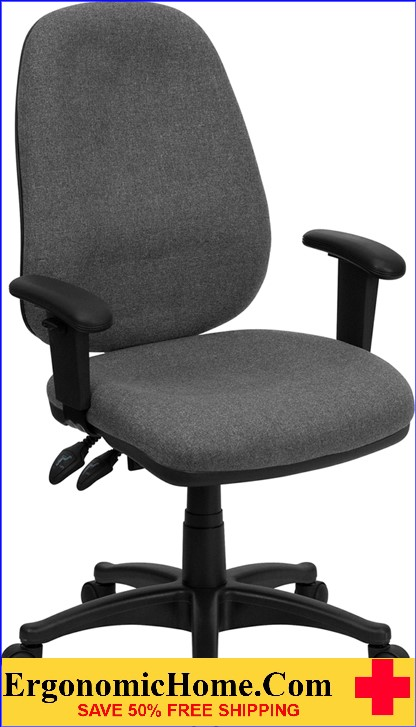 Ergonomic Home High Back Gray Fabric Executive Ergonomic Swivel Office Chair with Height Adjustable Arms .