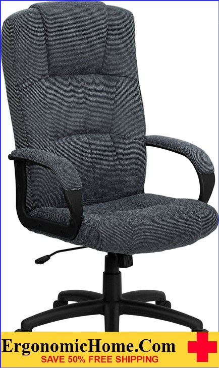 Ergonomic Home High Back Gray Fabric Executive Swivel Office Chair <b><font color=green>50% Off Read More Below...</font></b>