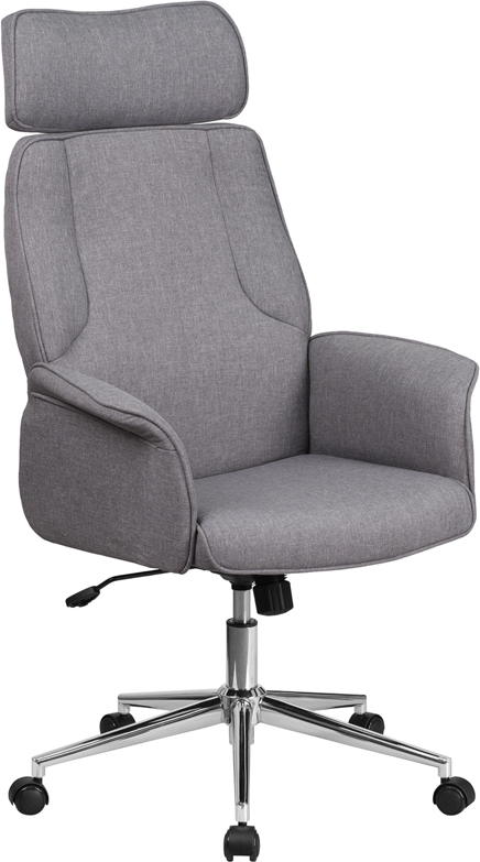 High Back Gray Fabric Executive Swivel Office Chair with Chrome Base