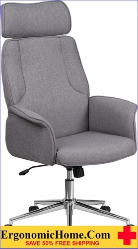 Ergonomic Home High Back Gray Fabric Executive Swivel Office Chair with Chrome Base <b><font color=green>50% Off Read More Below...</font></b>