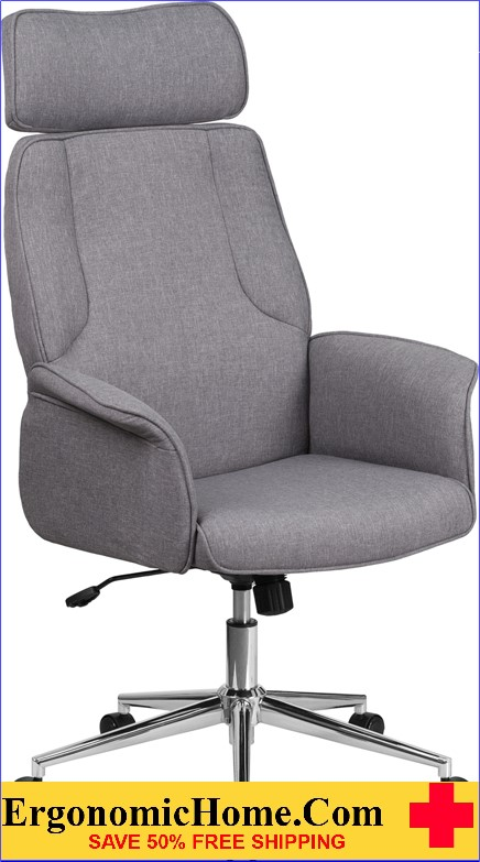 High Back Gray Fabric Executive Swivel Office Chair with Chrome Base and Fully Upholstered Arms
