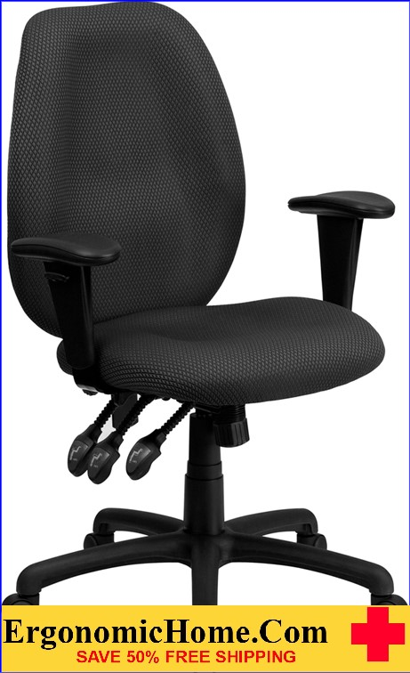 High Back Gray Fabric Multifunction Ergonomic Executive Swivel Office Chair with Adjustable Arms