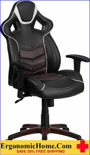 Ergonomic Home High Back Marrone Eklipsis Brown Vinyl Executive Swivel Office Chair with Inner-Coil Spring Comfort Seat and Brown Base .
