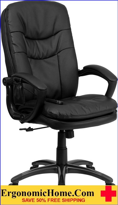 Ergonomic Home High Back Massaging Black Leather Executive Swivel Office Chair <b><font color=green>50% Off Read More Below...</font></b>