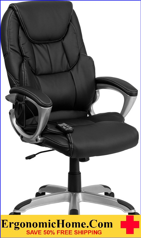 Ergonomic Home High Back Massaging Black Leather Executive Swivel Office Chair with Silver Base <b><font color=green>50% Off Read More Below...</font></b>