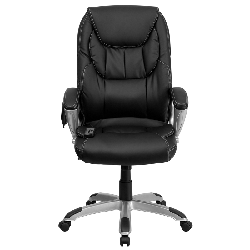 high back massaging black leather executive swivel office chair with