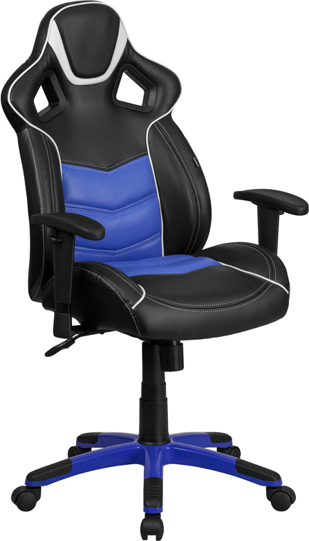 High Back Monterey Blue Vinyl Executive Swivel Office Chair with Inner-Coil Spring Comfort Seat and Blue Base. <font color=#c60>Read more below...</font>