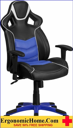 Ergonomic Home High Back Monterey Blue Vinyl Executive Swivel Office Chair with Inner-Coil Spring Comfort Seat and Blue Base <b><font color=green>50% Off Read More Below...</font></b></font></b>