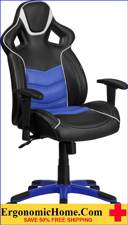 Ergonomic Home High Back Monterey Blue Vinyl Executive Swivel Office Chair with Inner-Coil Spring Comfort Seat and Blue Base .