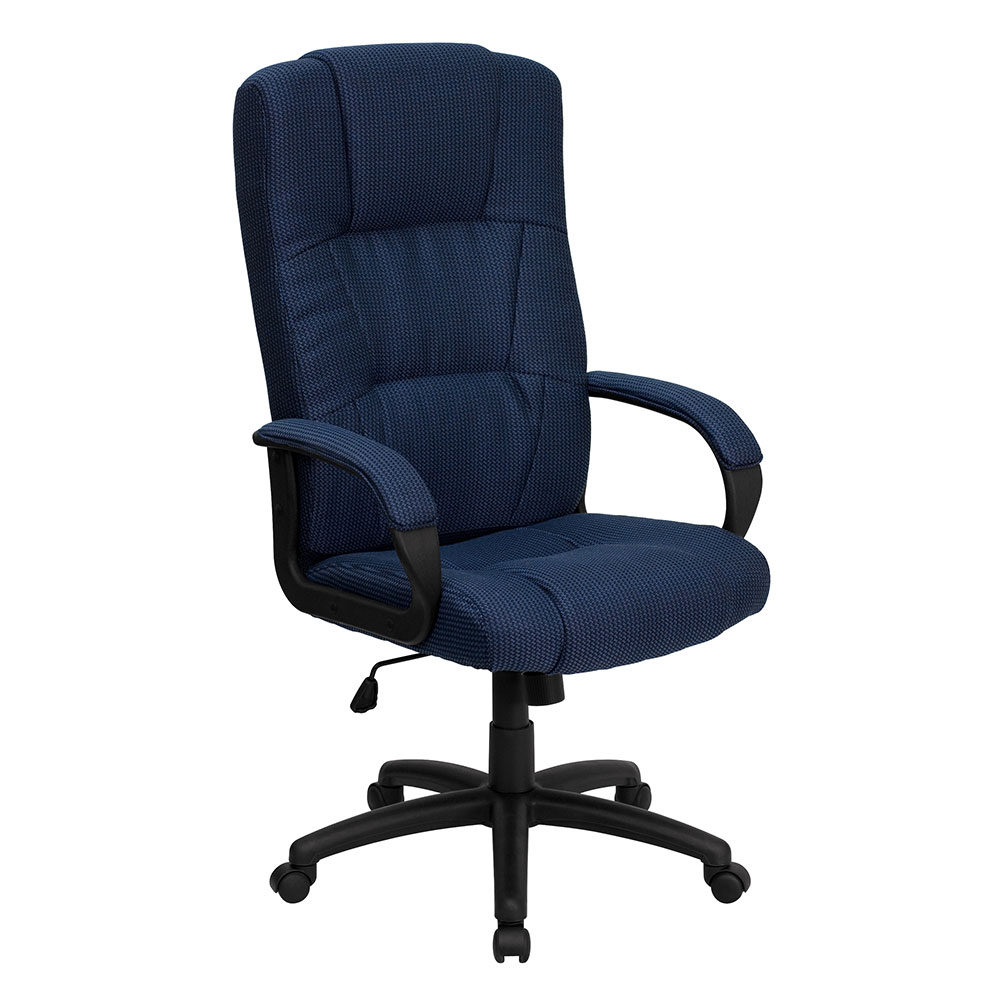 Ergonomic home high back navy blue fabric executive swivel for Swivel chairs for office