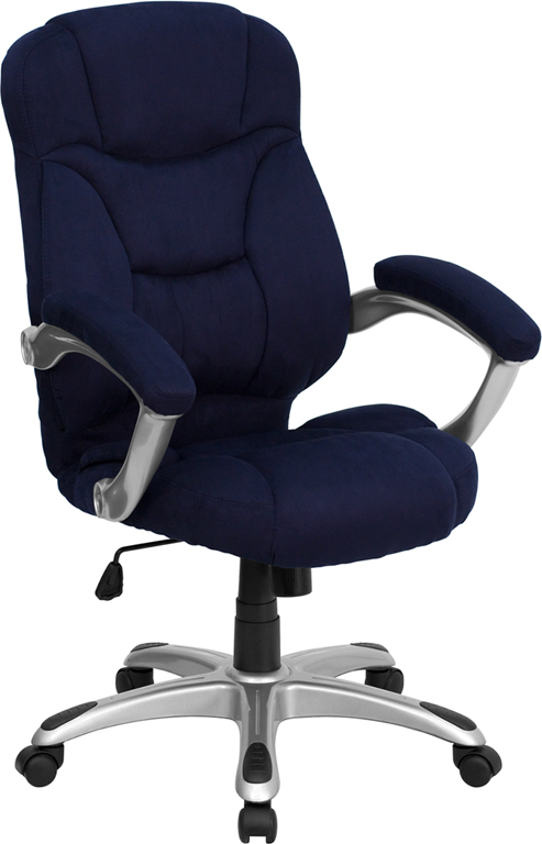 High Back Navy Blue Microfiber Contemporary Executive Swivel Office Chair