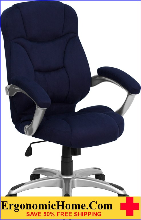 Ergonomic Home High Back Navy Blue Microfiber Contemporary Executive Swivel Office Chair Rating