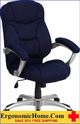 Ergonomic Home High Back Navy Blue Microfiber Contemporary Executive Swivel Office Chair <b><font color=green>50% Off Read More Below...</font></b>