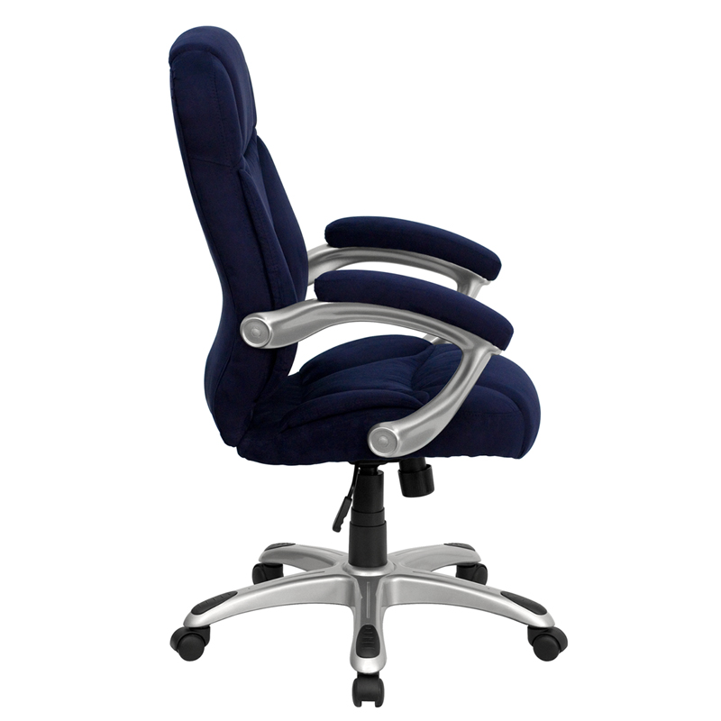 ergonomic home high back navy blue microfiber contemporary executive