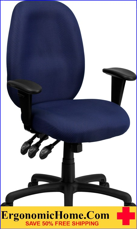 Ergonomic Home High Back Navy Fabric Multi-Functional Ergonomic Executive Swivel Office Chair with Height Adjustable Arms <b><font color=green>50% Off Read More Below...</font></b>