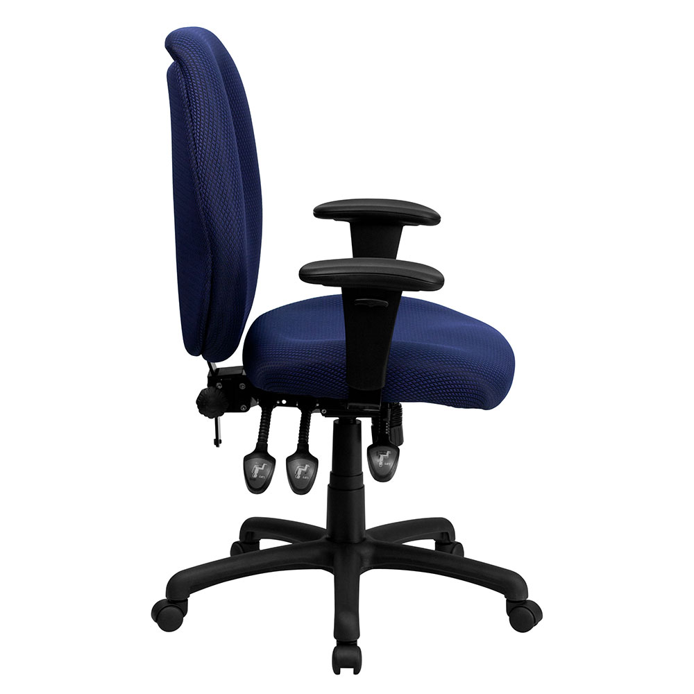 High office chair - High Back Navy Fabric Multi Functional Ergonomic Executive Swivel Office Chair With Height Adjustable Arms