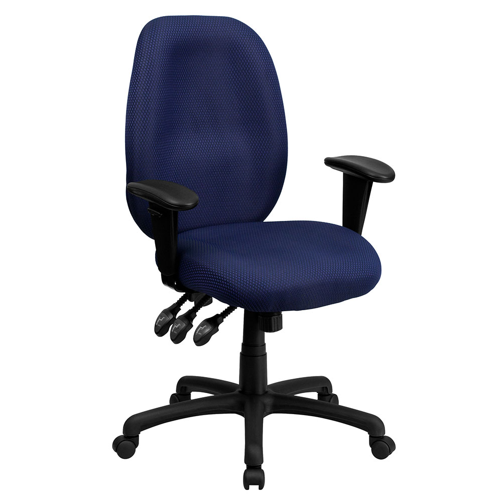 High Back Navy Fabric Multi-Functional Ergonomic Executive Swivel Office Chair with Height Adjustable Arms