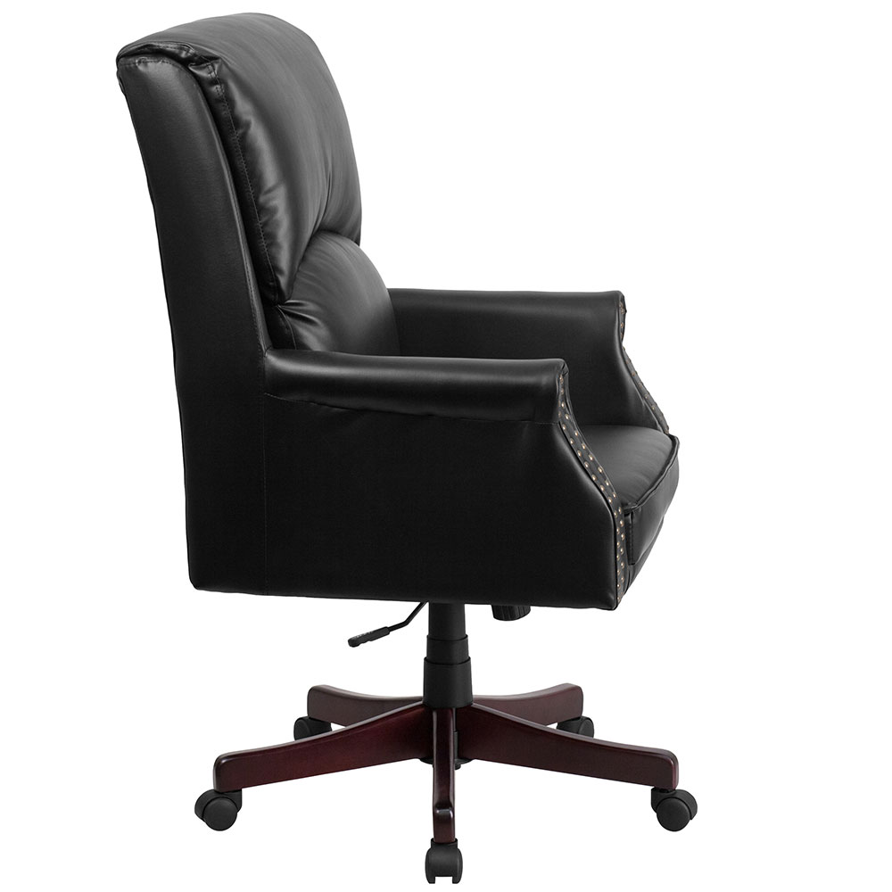 chairs high back pillow back black leather executive swivel office