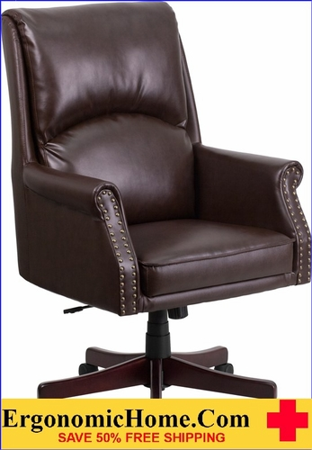 Charmant Ergonomic Home High Back Pillow Back Brown Leather Executive Swivel Office  Chair U003cbu003eu003c