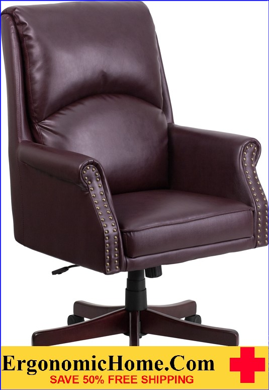Magnificent Ergonomic Home High Back Pillow Back Burgundy Leather Executive Swivel Office Chair 50 Off Read More Below Machost Co Dining Chair Design Ideas Machostcouk