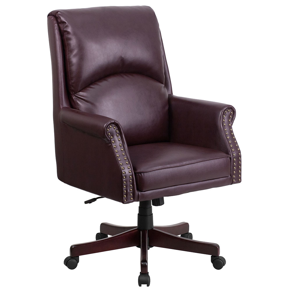 High Back Pillow Back Burgundy Leather Executive Swivel Office Chair