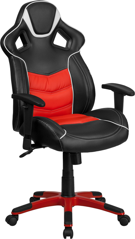 High Back Rosso Corsa Red Vinyl Executive Swivel Office Chair with Inner-Coil Spring Comfort Seat and Red Base