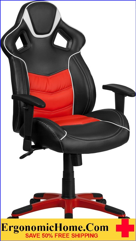 Ergonomic Home High Back Rosso Corsa Red Vinyl Executive Swivel Office Chair with Inner-Coil Spring Comfort Seat and Red Base .