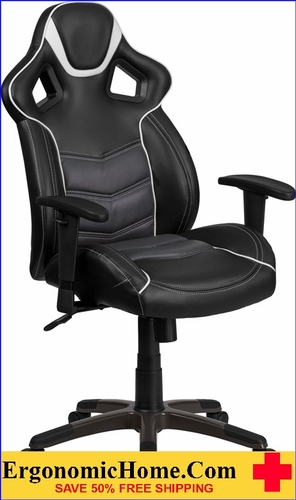 Ergonomic Home High Back Storm Gray Vinyl Executive Swivel Office Chair with Inner-Coil Spring Comfort Seat and Gray Base .