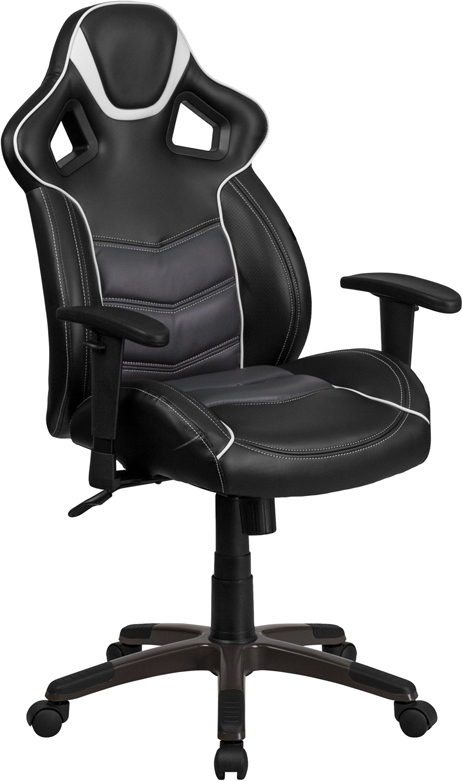 High Back Storm Gray Vinyl Executive Swivel Office Chair with Inner-Coil Spring Comfort Seat and Gray Base