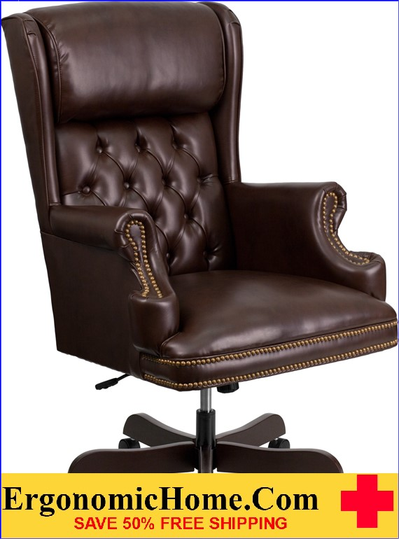 Ergonomic Home High Back Traditional Tufted Brown Leather Executive Swivel Office Chair .