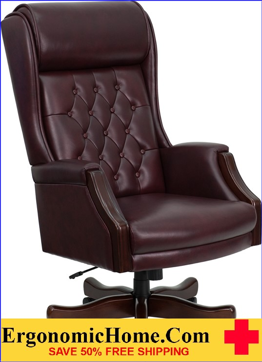 Ergonomic Home High Back Traditional Tufted Burgundy Leather Executive Swivel Office Chair <b><font color=green>50% Off Read More Below...</font></b>