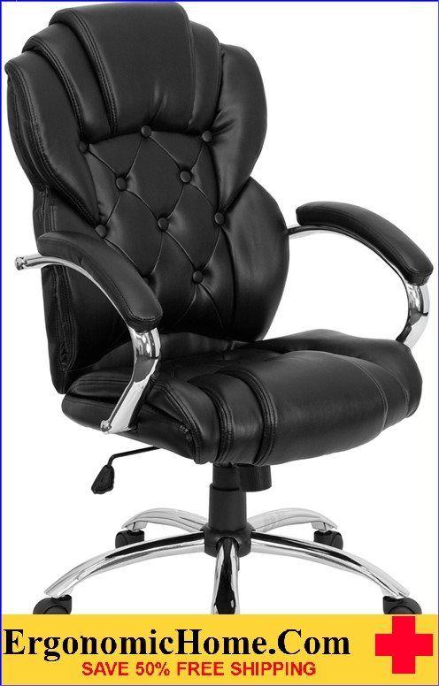 High Back Transitional Style Black LeatherSoft Executive Swivel Office Chair with Arms