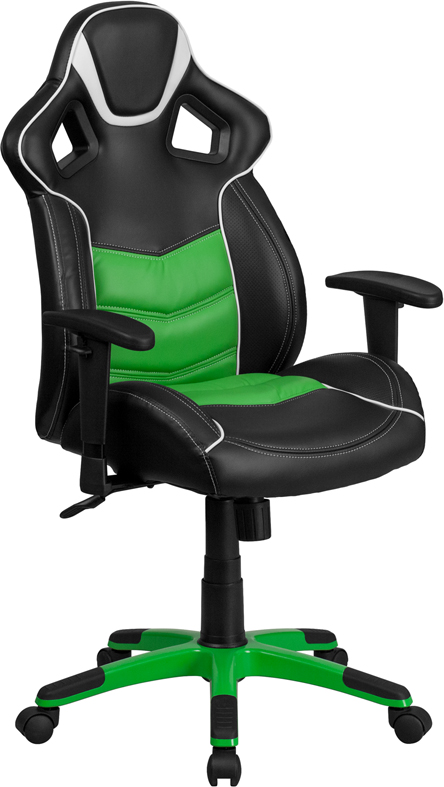 High Back Verde Mantis Green Vinyl Executive Swivel Office Chair with Inner-Coil Spring Comfort Seat and Green Base
