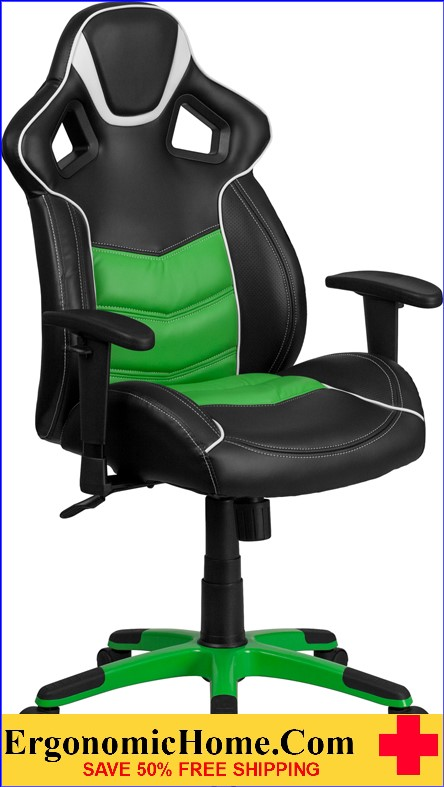 Ergonomic Home High Back Verde Mantis Green Vinyl Executive Swivel Office Chair with Inner-Coil Spring Comfort Seat and Green Base .