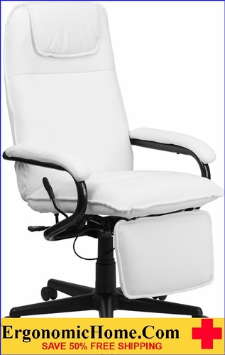 Ergonomic Home High Back White Leather Executive Reclining Swivel Office Chair <b><font color=green>50% Off Read More Below...</font></b>