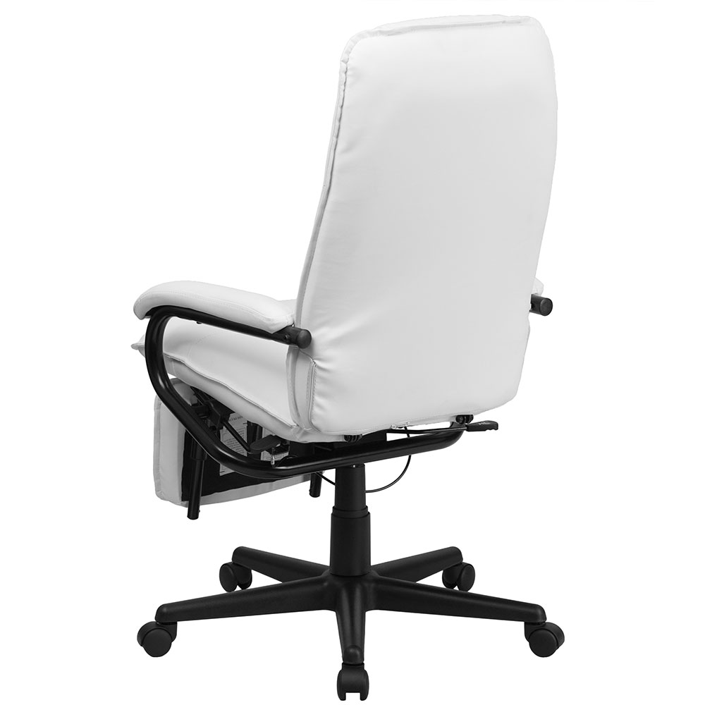 ergonomic home high back white leather executive reclining swivel office chair. Black Bedroom Furniture Sets. Home Design Ideas