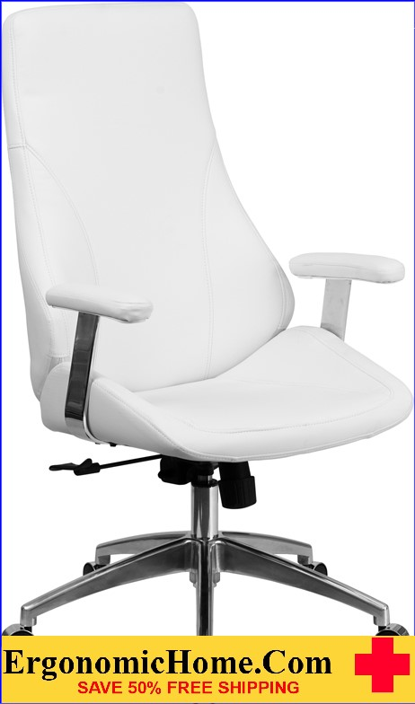 Ergonomic Home High Back White Leather Executive Swivel Office Chair <b><font color=green>50% Off Read More Below...</font></b>