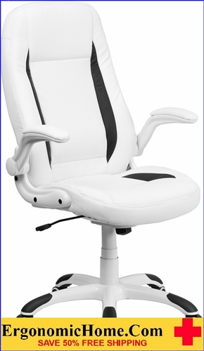 Ergonomic Home High Back White Leather Executive Swivel Office Chair with Flip-Up Arms <b><font color=green>50% Off Read More Below...</font></b>