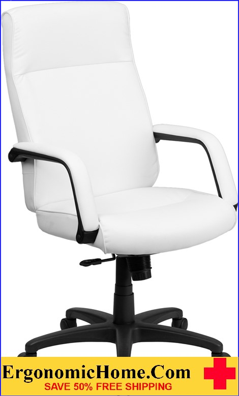 Ergonomic Home High Back White Leather Executive Swivel Office Chair with Memory Foam Padding <b><font color=green>50% Off Read More Below...</font></b>