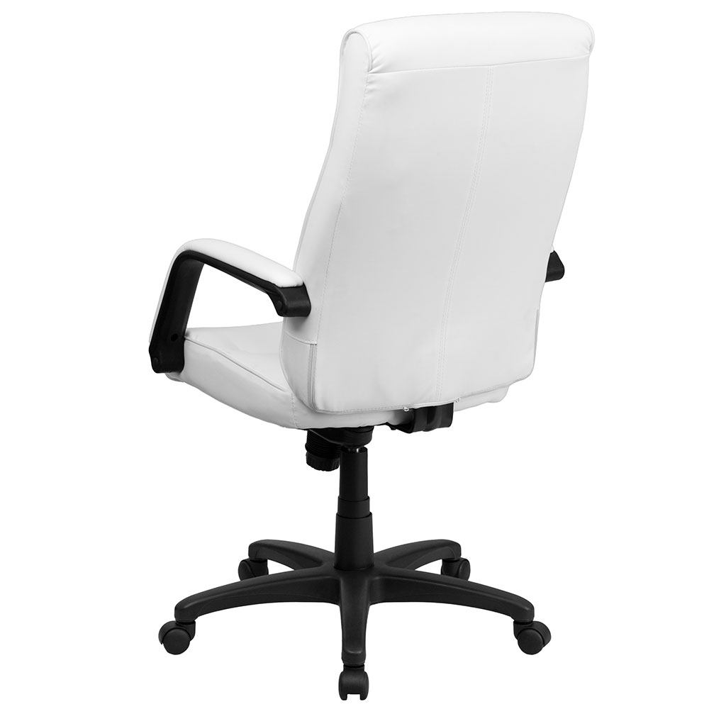 high back white leather executive swivel office chair with