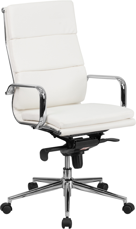High Back White Leather Executive Swivel Office Chair with Synchro-Tilt Mechanism