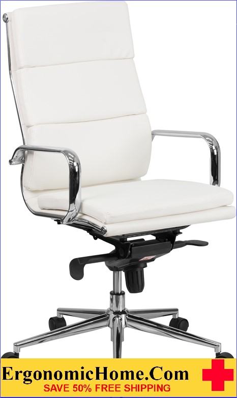 Ergonomic Home High Back White Leather Executive Swivel Office Chair with Synchro-Tilt Mechanism .