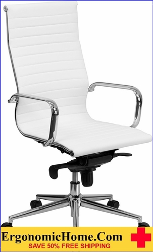 Ergonomic Home High Back White Ribbed Upholstered Leather Executive Swivel Office Chair <b><font color=green>50% Off Read More Below...</font></b></font></b>