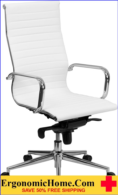 High Back White Ribbed LeatherSoft Executive Swivel Office Chair with Knee-Tilt Control and Arms