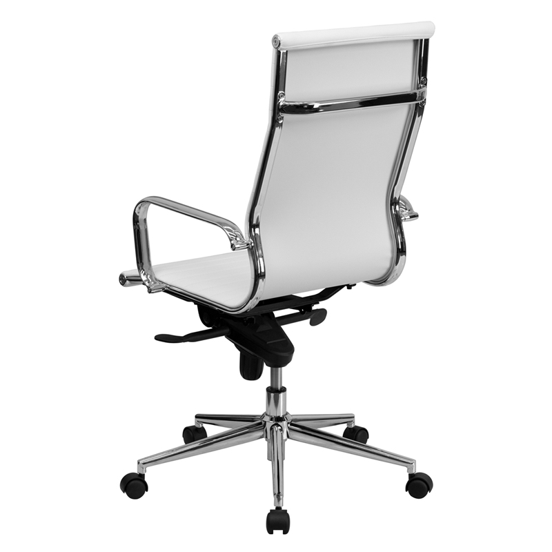 Ergonomic Home High Back White Ribbed Upholstered Leather