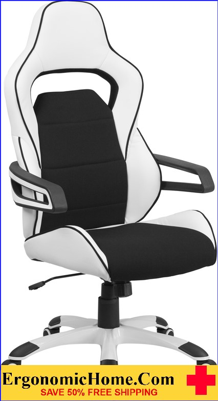 Ergonomic Home High Back White Vinyl Executive Swivel Office Chair with Black Fabric Inserts <b><font color=green>50% Off Read More Below...</font></b>