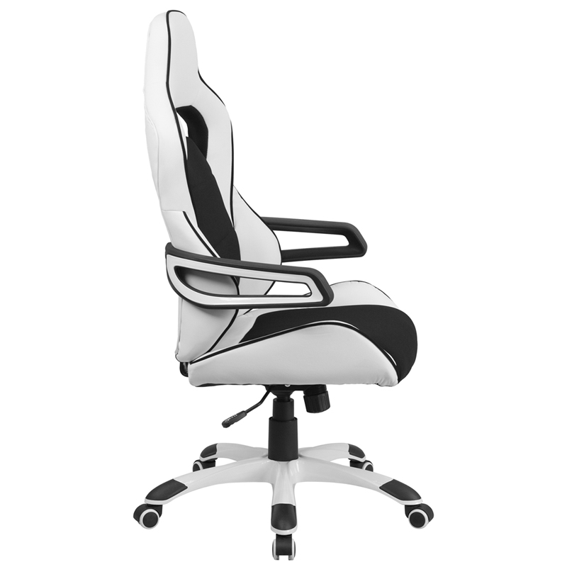 Ergonomic Home High Back White Vinyl Executive Swivel Office Chair with Black Fabric Inserts  sc 1 st  ErgonomicHome.com & Ergonomic Home High Back White Vinyl Executive Swivel Office Chair ...