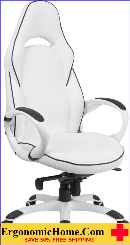 Ergonomic Home High Back White Vinyl Executive Swivel Office Chair with Black Trim <b><font color=green>50% Off Read More Below...</font></b>