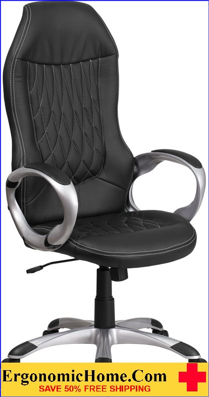 Ergonomic Home High Black Vinyl Executive Swivel Office Chair <b><font color=green>50% Off Read More Below...</font></b>