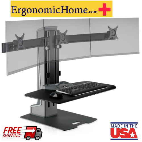 "<b><font color=#c60>Ergonomic Home Innovative Winston Electric Adjustable Triple Monitor Stand Work Surface 30""W x 22""D. #WNSTE-3-270. Free Shipping:</b></font></font></b>"